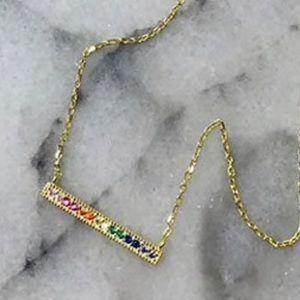 Dainty Horizontal Rainbow Crystal Bar Necklace,NWT